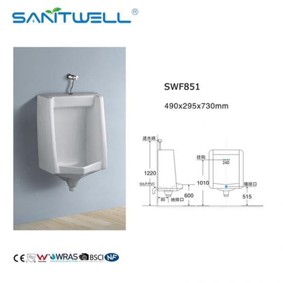 Wall hung ceramic urinal