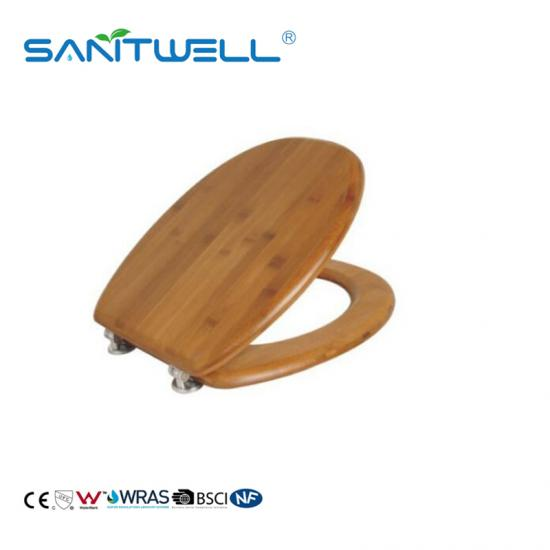 Bathroom bamboo toilet seat
