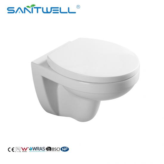 rimless P-trap wall hung toilet
